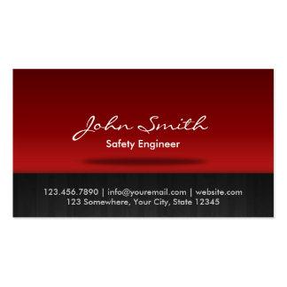 Cartão de visita vermelho do engenheiro de seguran