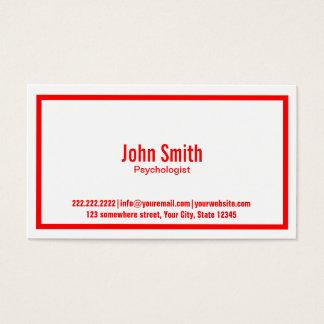 Cartão de visita vermelho do psicólogo da beira
