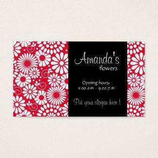 Cartão de visita vermelho floral do vintage