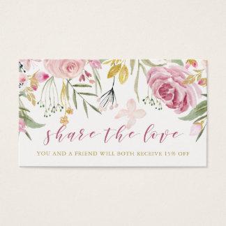 Cartão De Visitas A aguarela floresce rosa de | e referência floral