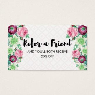 Cartão De Visitas A flor floral consulta uma referência do amigo