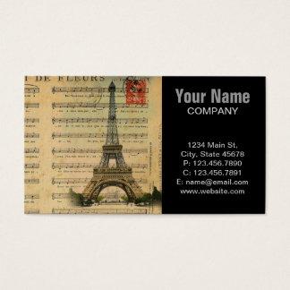 Cartão De Visitas A música do vintage nota a torre Eiffel de Paris