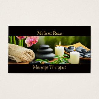 Cartão De Visitas A orquídea de bambu da massagem apedreja a vela