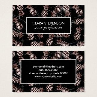 Cartão De Visitas abacaxi cor-de-rosa do ouro do mármore preto