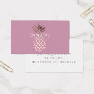 Cartão De Visitas abacaxi tropical do ouro cor-de-rosa elegante do