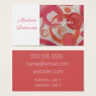 Cartão De Visitas Abstrato do rosa e da laranja