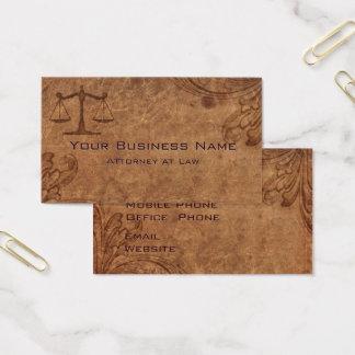 Cartão De Visitas Advogado de couro gravado na lei