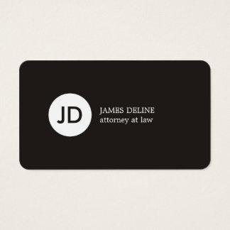 Cartão De Visitas Advogado escuro minimalista do monograma do branco