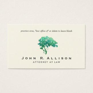 Cartão De Visitas Advogado na árvore verde elegante da lei