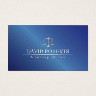 Cartão De Visitas Advogado no advogado do azul do metal da lei