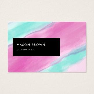 Cartão De Visitas Aguarela cor-de-rosa moderna de água-marinha de