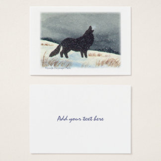 Cartão De Visitas Aguarela da pintura do lobo de Snowdusted