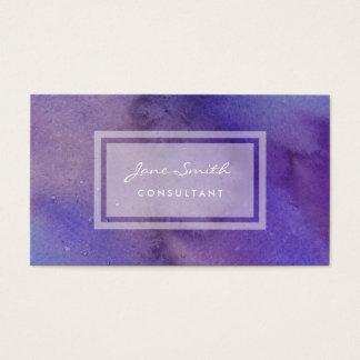 Cartão De Visitas Aguarela roxa, bonito, feminino e abstrato