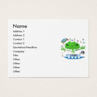 Cartão De Visitas Aliens de espaço verdes bonitos com navio de