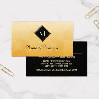 Cartão De Visitas Amarelo escovado elegante com monograma simples do