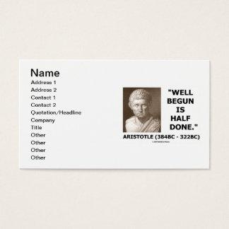 Cartão De Visitas Aristotle começado bem é citações feitas metade do