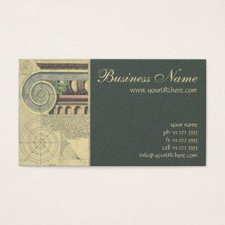 Cartão De Visitas Arquitetura do vintage; Volute principal por