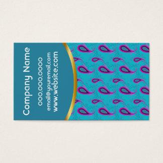 Cartão De Visitas Azul de pavão Paisley