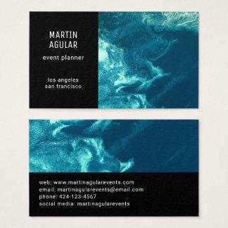 Cartão De Visitas Azul de roda do espaço satélite minimalista da