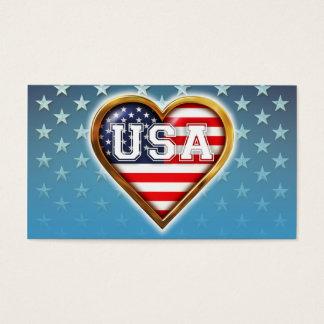 Cartão De Visitas Bandeira americana Coração-Dada forma