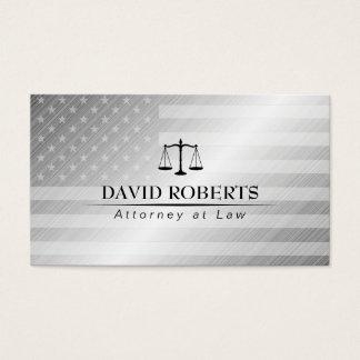 Cartão De Visitas Bandeira metálica moderna dos EUA do advogado do