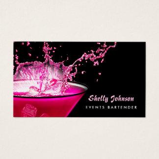 Cartão De Visitas Barman preto e cor-de-rosa nervoso dos eventos do