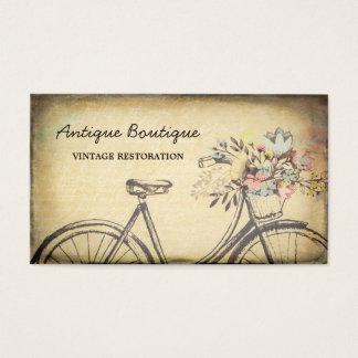 Cartão De Visitas Bicicleta floral da restauração do vintage da loja