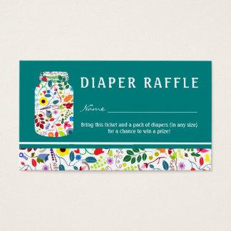 Cartão De Visitas Bilhete floral do Raffle da fralda do chá de