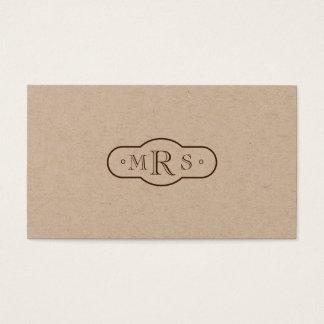 Cartão De Visitas Bistre retro Monogrammed da pia batismal de