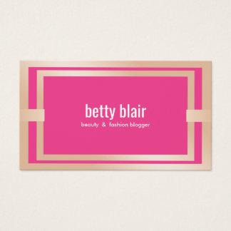 Cartão De Visitas Blogger moderno da beleza e da forma do ouro do
