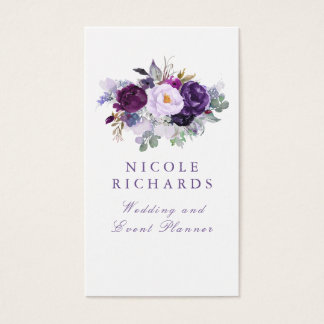 Cartão De Visitas Bohemian elegante floral roxo da aguarela