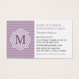 Cartão De Visitas Bolinhas roxas bonitos com o boutique feminino do
