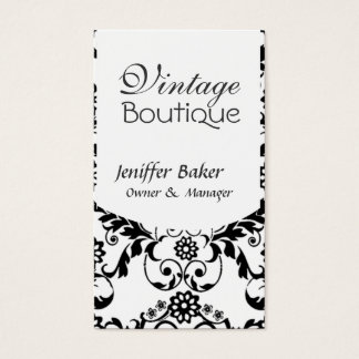Cartão De Visitas Boutique branco preto elegante do vintage do