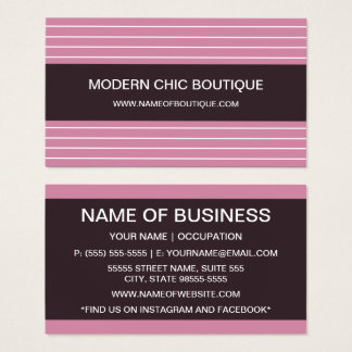 Cartão De Visitas Boutique cor-de-rosa fino chique moderno da forma