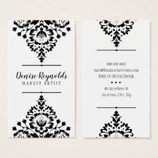Cartão De Visitas Branco bonito elegante do preto do damasco do