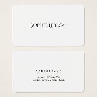 Cartão De Visitas branco decorativo elegante minimalista do estilo