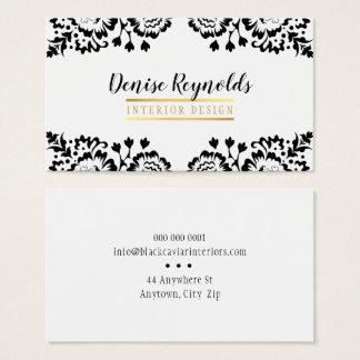 Cartão De Visitas Branco elegante do preto do ouro do laço do
