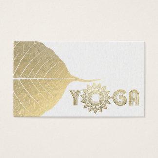 Cartão De Visitas Branco & folha de Bodhi da mandala da mediação da