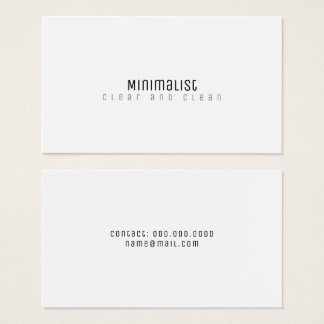 Cartão De Visitas branco limpo & claro elegante minimalista