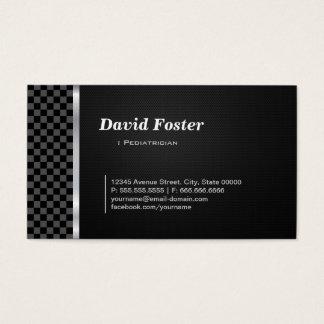 Cartão De Visitas Branco preto Checkered do pediatra