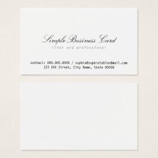 Cartão De Visitas branco simples e limpo minimalista