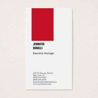 Cartão De Visitas Branco vermelho moderno minimalista liso