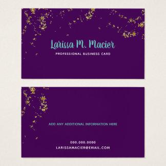 Cartão De Visitas brilho. pontos do ouro do falso + roxo conhecido