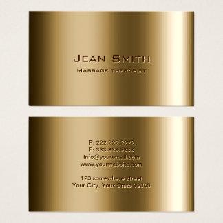 Cartão De Visitas Bronze do metal do terapeuta da massagem
