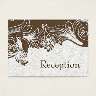 Cartão De Visitas Brown e casamento floral branco do primavera