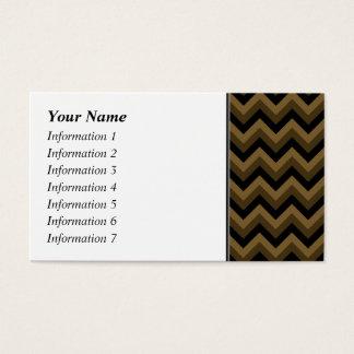 Cartão De Visitas Brown escuro e teste padrão de ziguezague preto