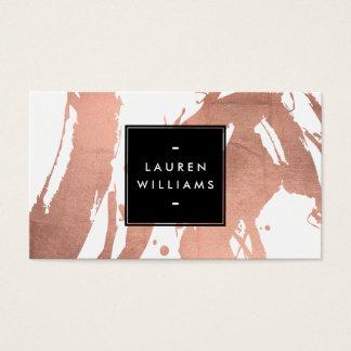 Cartão De Visitas Brushstrokes cor-de-rosa do ouro do abstrato no