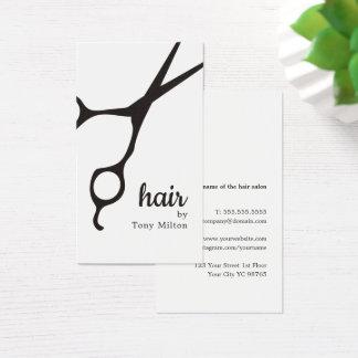 Cartão De Visitas Cabeleireiro branco preto elegante moderno