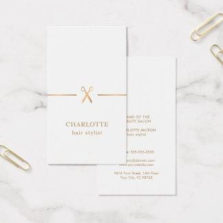 Cartão De Visitas Cabeleireiro chique elegante moderno do branco do