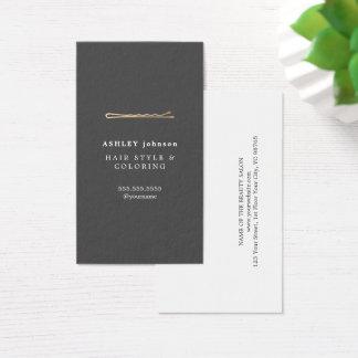 Cartão De Visitas Cabeleireiro cinzento minimalista elegante do ouro